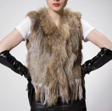 Genuine Fur Vest 100% Real Rabbit Fur Knitted gilet for Women Winter Fashion
