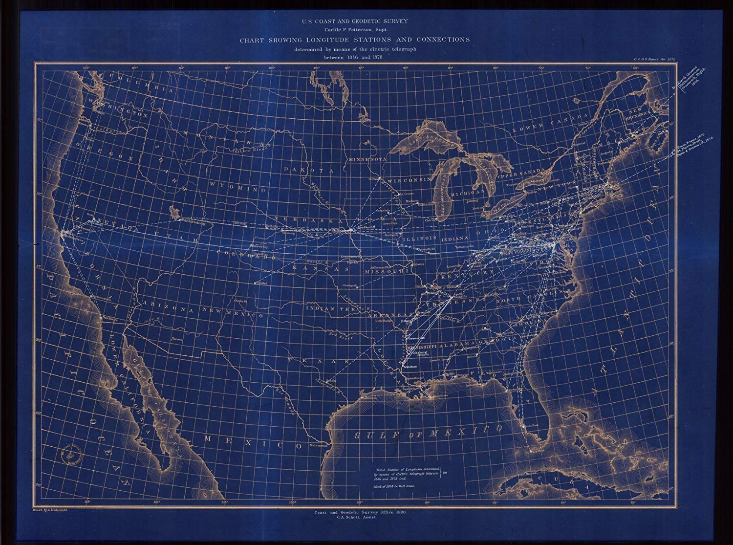 Vintography 18 x 24 Reprinted Blueprint Style Nautical Map Chart Showing Longitude Stations Connections Determined Means The Electric Telegraph Between 1846 1878 1880 NOAA 30a