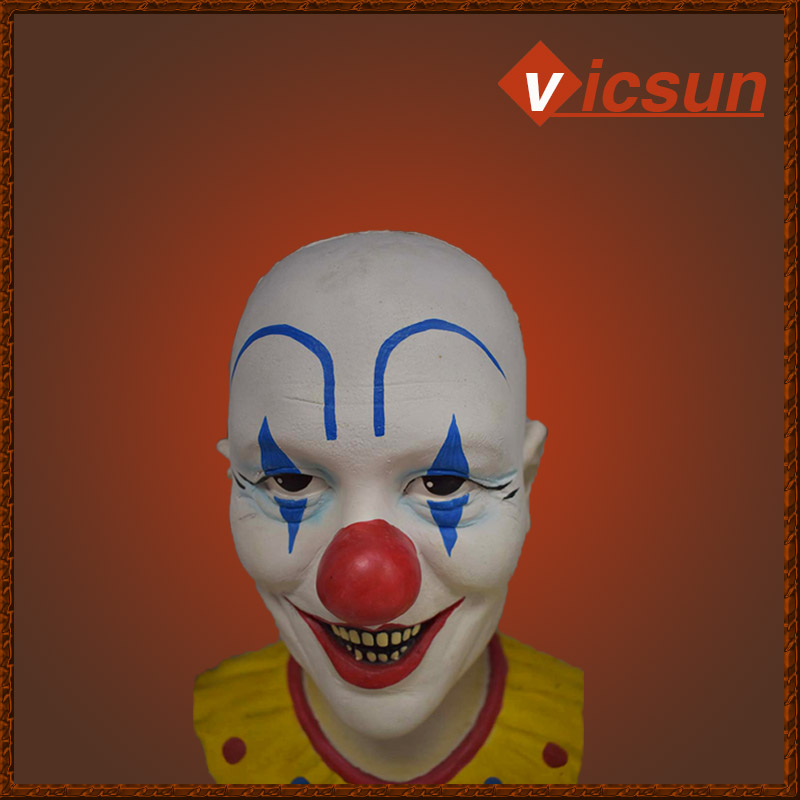 halloween masquerade party red nose fancy bald clown mask