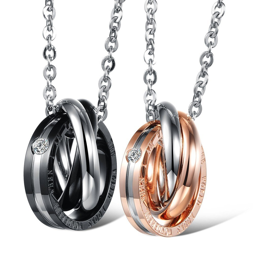 c6164d7989 Get Quotations · changgaijewelry Stainless Steel His & Hers Matching Set  Interlocking Rings Couples Pendant Necklace