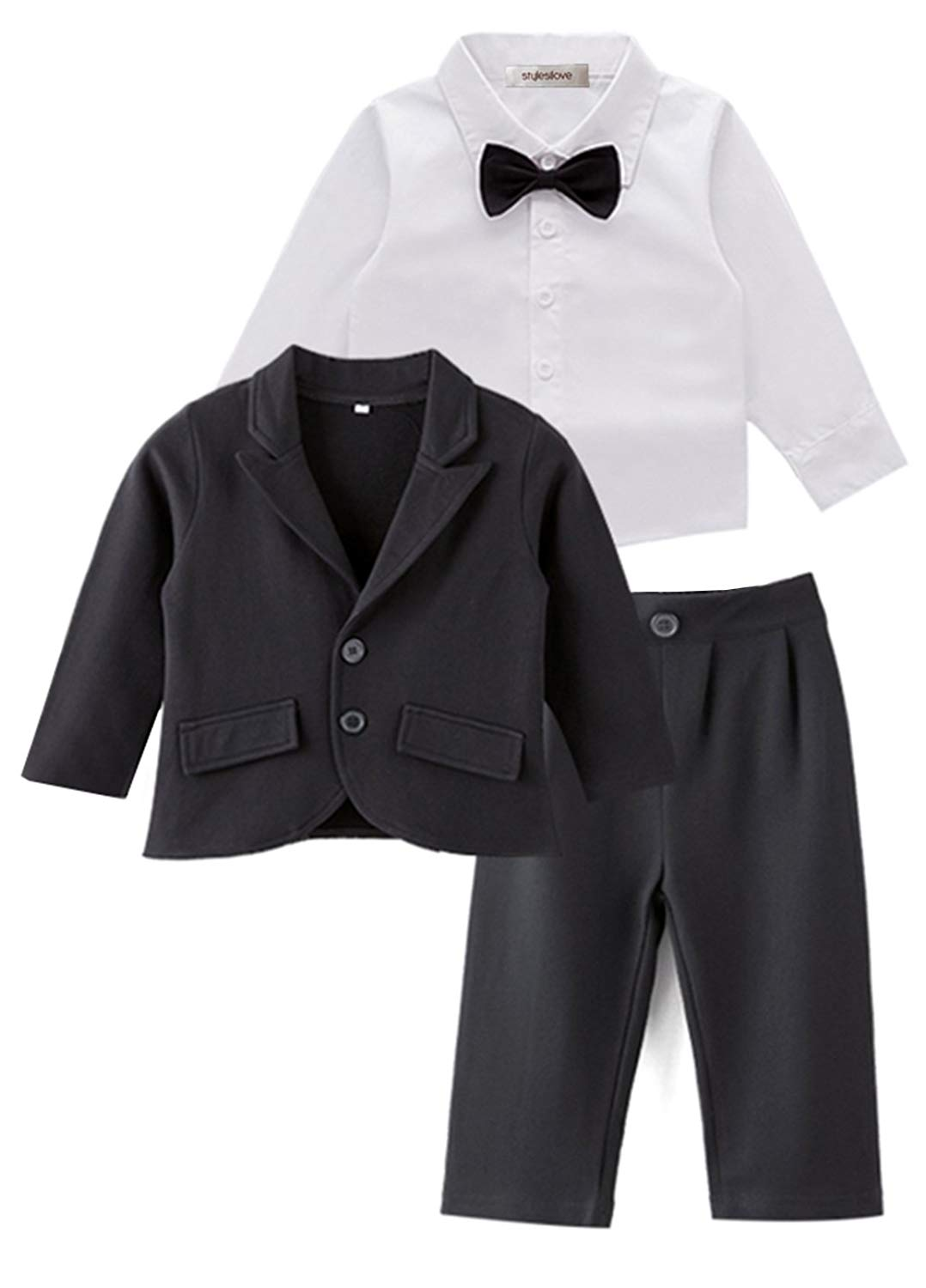 789da0c7f Get Quotations · stylesilove Baby Boy Tuxedo Formal Wear Suit 3-PC Shirt  Pants and Jacket