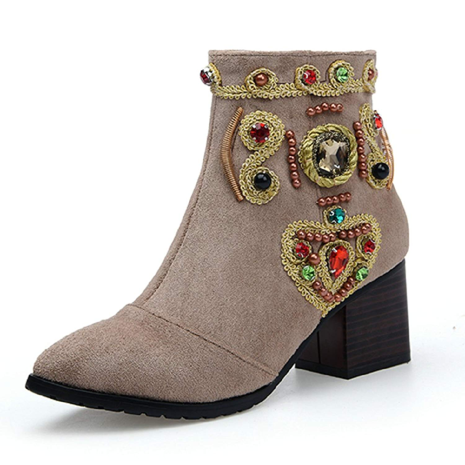 542a80ca4 Get Quotations · AnMengXinLing Women Ankle Booties Suede Pointed Toe Mid  Chunky Heel Rhinestone Wedding