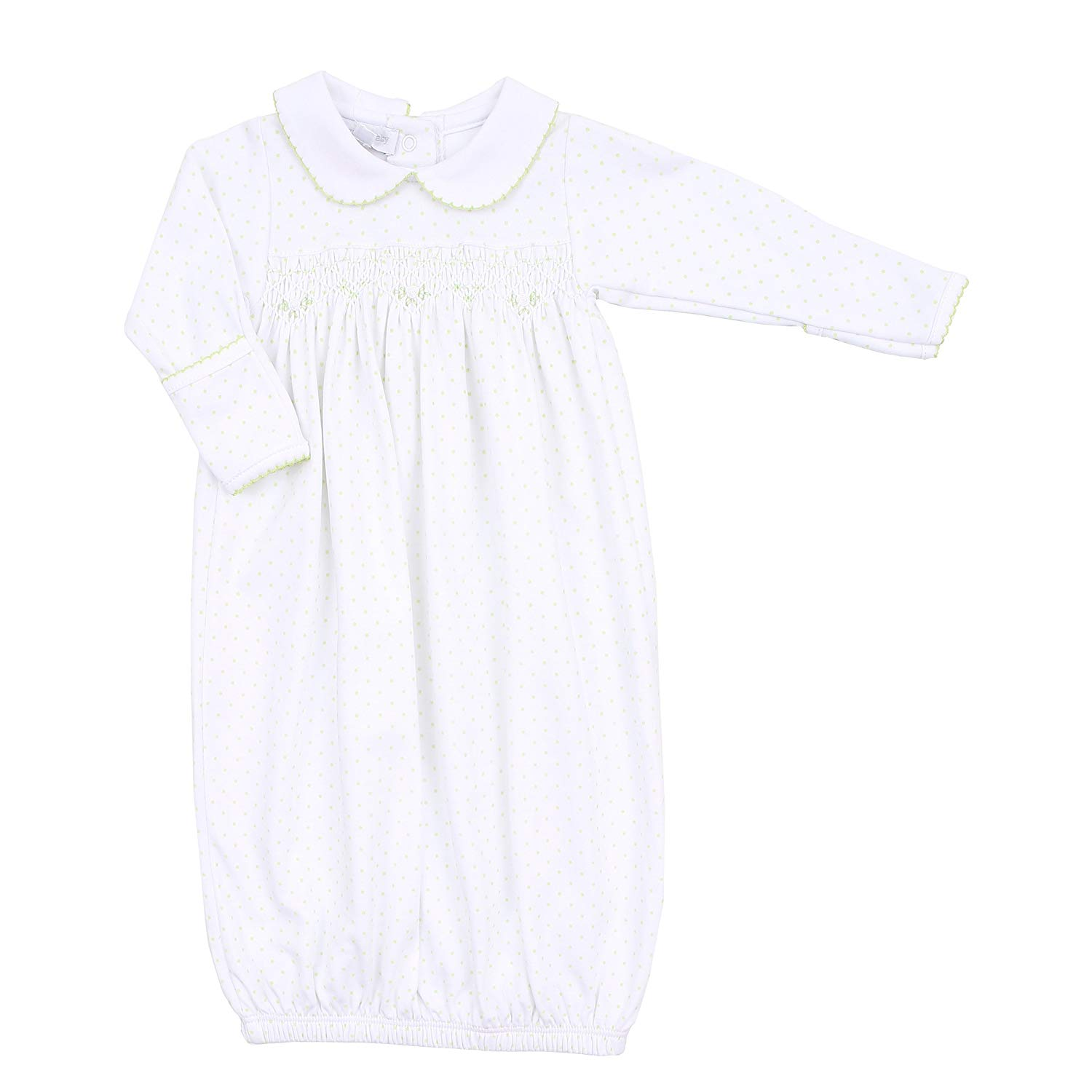 fa01b1ad0f94 Get Quotations · Magnolia Baby Unisex Baby Isabella s Classics Collared  Smocked Gown White Newborn