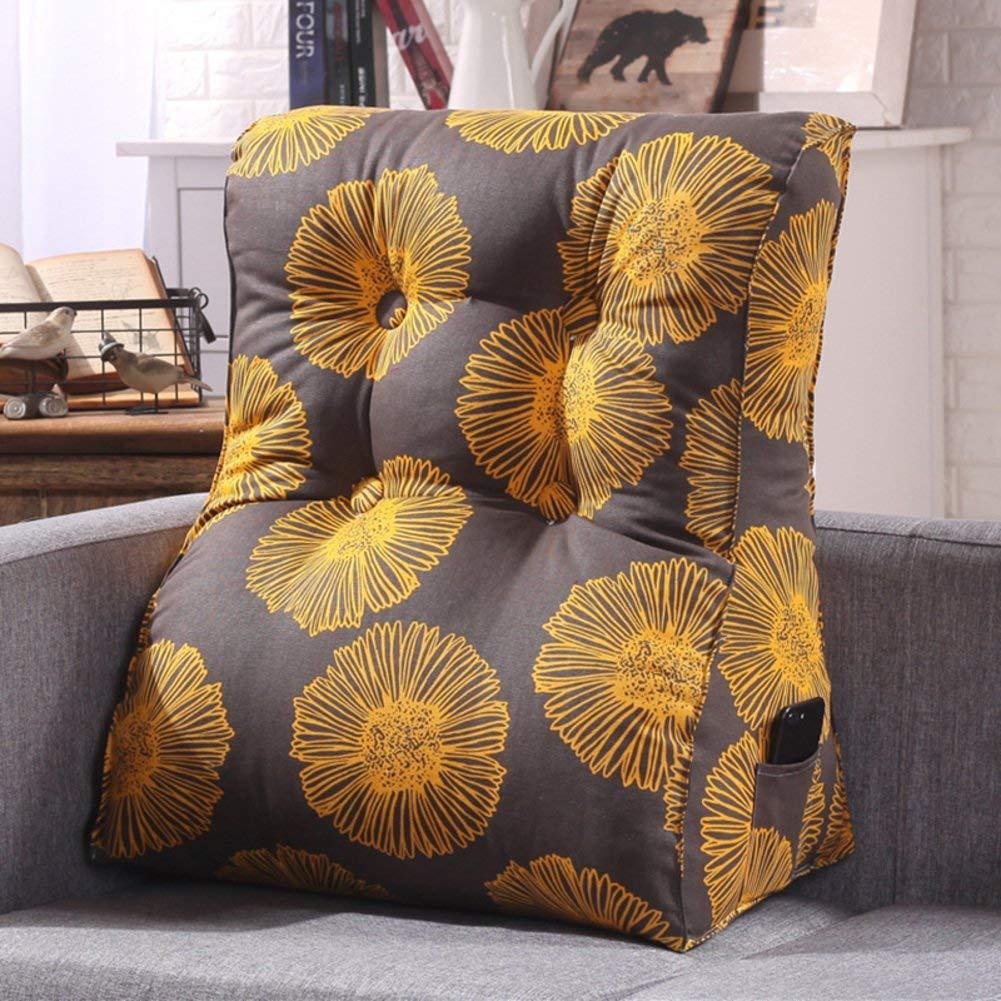 DW&HX Sofa Triangular wedge,Height Thicken Stereo Back cushion Neck Back cushion Detachable bedside Cushion-H 60x55x30cm(24x22x12inch)