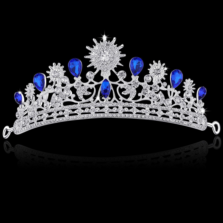 BABEYOND Crystal Queen Tiara Crown Rhinestones Princess Tiara Crown with  Comb Pin Bridal Wedding Crown Tiara 7c3f9dadde07