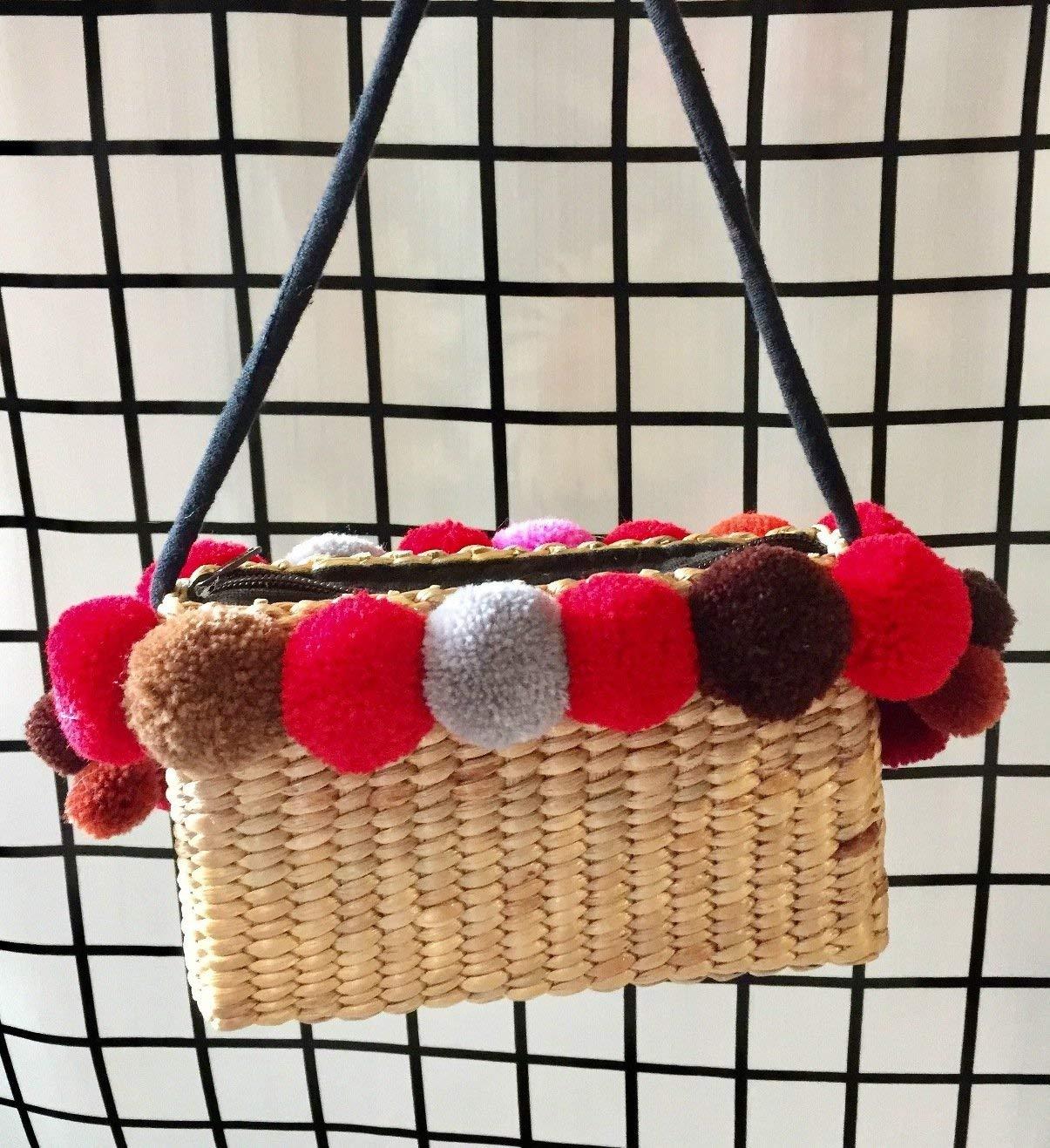 Mini Pom Pom Straw Crossbody,Handwoven Straw Bag,Pom Pom Straw Bag,CrossBody Straw Bag,Pom Pom Bag,Mini Straw Bag,Straw Tote Bag,Mini Straw Purse,Straw Beach Bag,Straw Tote