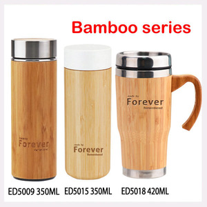 Custom double wall stainless steel bamboo wood beer mug with plastic handle and lid