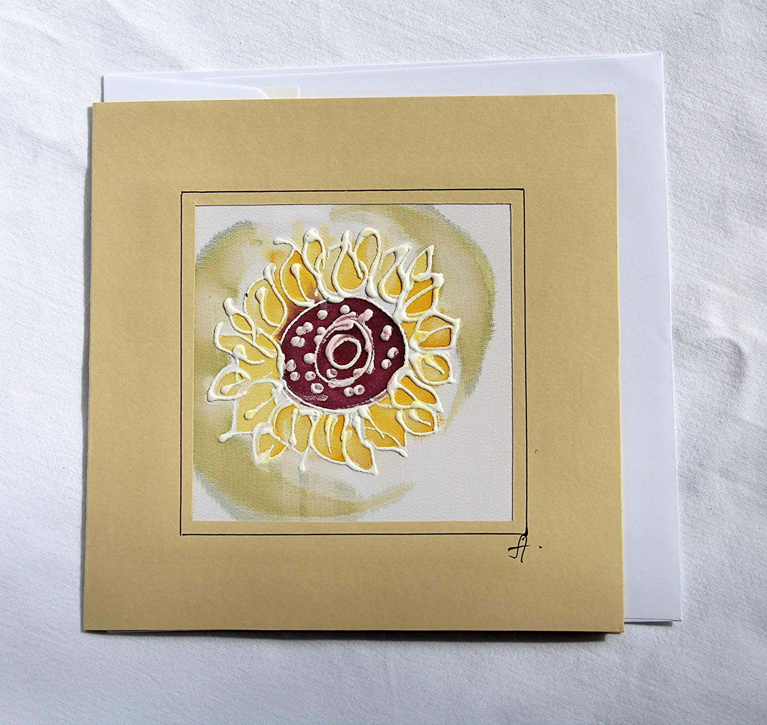 Sale!!!20% Off,Original Yellow Sunflower Card,Sunflower Birthday card,Mother's day card,Hand Painted Sunflower Silk Card,Flower Card,Sunflower Greeting Cards,Original Batik Greeting Card.