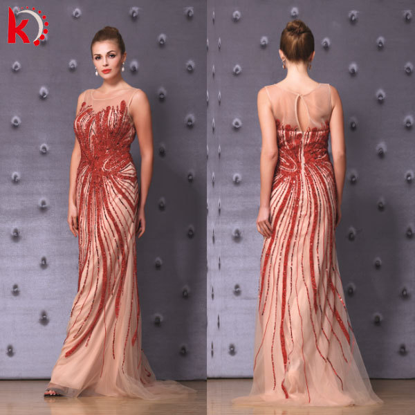 Gorgeous Stunning Beads Sexy Open Back Elegante Red Vestidos Largos 2015