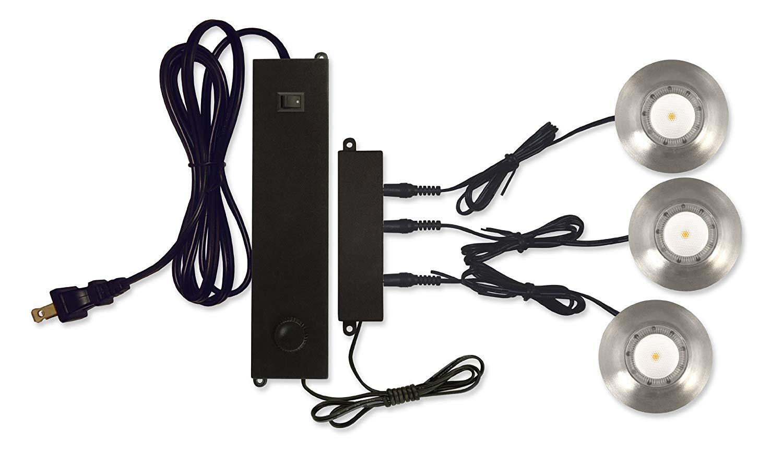120V Direct LED Puck 3 Light Kit 3200K 80 CRI Direct-Lighting 3-Puck-Lit