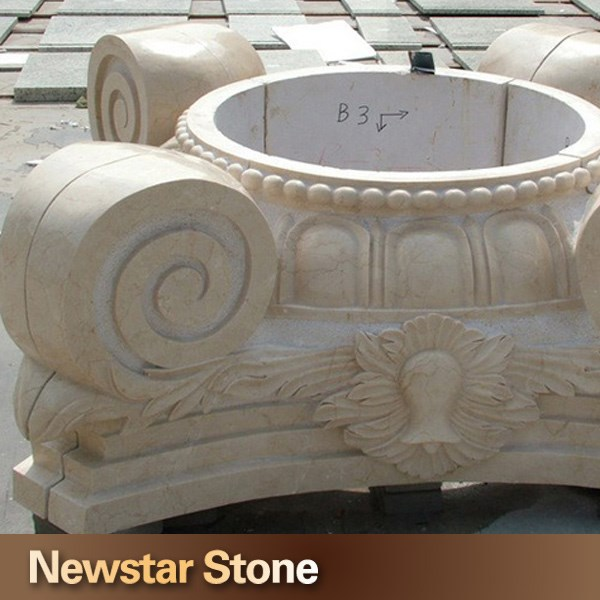 Carved marble roman columns capital