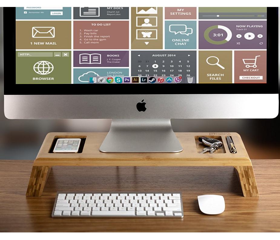 Wooden Bamboo Desk Organizer Imac Laptop Monitor Stand Riser