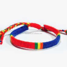 Classical handmade Coloful weave international flag bracelet, customized/OEM design braided bracelet Friendship