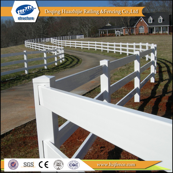 PVC 3-rail used horse fence panels designs