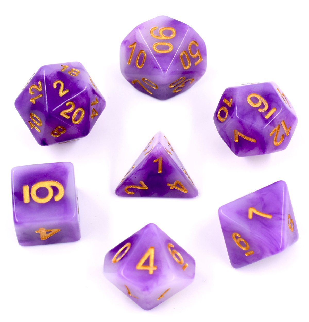 Polyhedral Dnd Dice Sets, Hengda Dice Purple Jade Dice for Dungeons and Dragons Pathfinder DND RPG Tabletop Gaming Dice