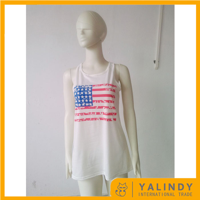 Free Shipping Wholesale Personalized Fashion American Flag Bow Tank Top