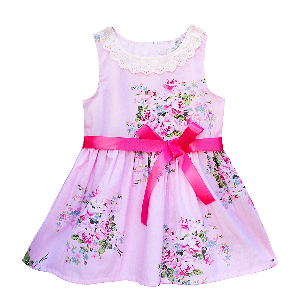 Alibaba.com / Kseniya Kids Floral Lace Baby Girl Dress Sleeveless Summer Cotton Breathable