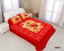 Latest double bed designs hotel carved bedcover set