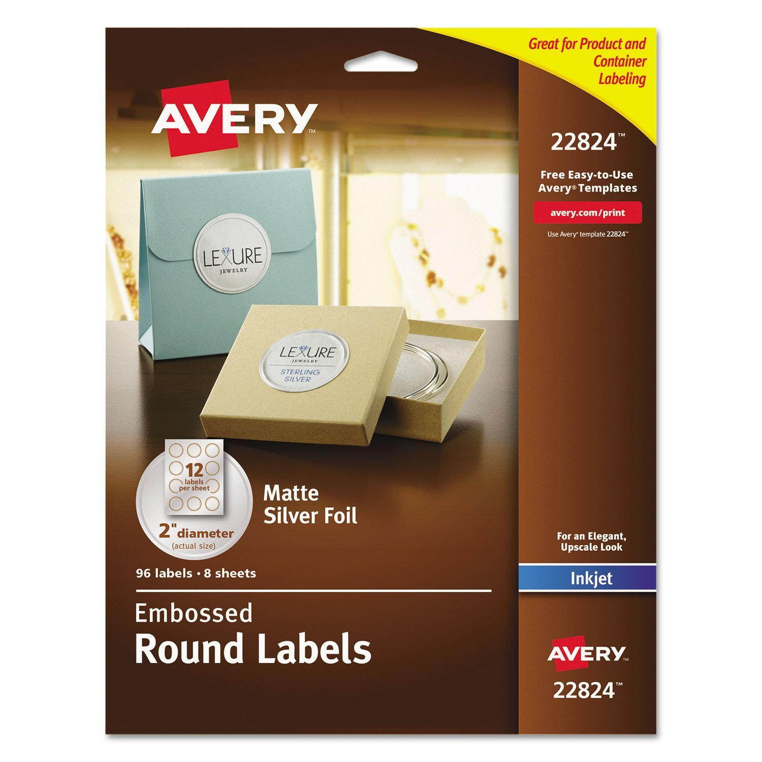 Avery Round Labels, 2 inch dia, Silver Foil, 96/Pack