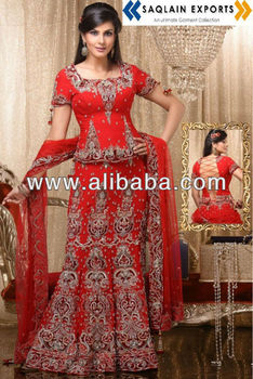Most Beautiful Lehenga Embellished Bridal Dress Designer Red Indian ...