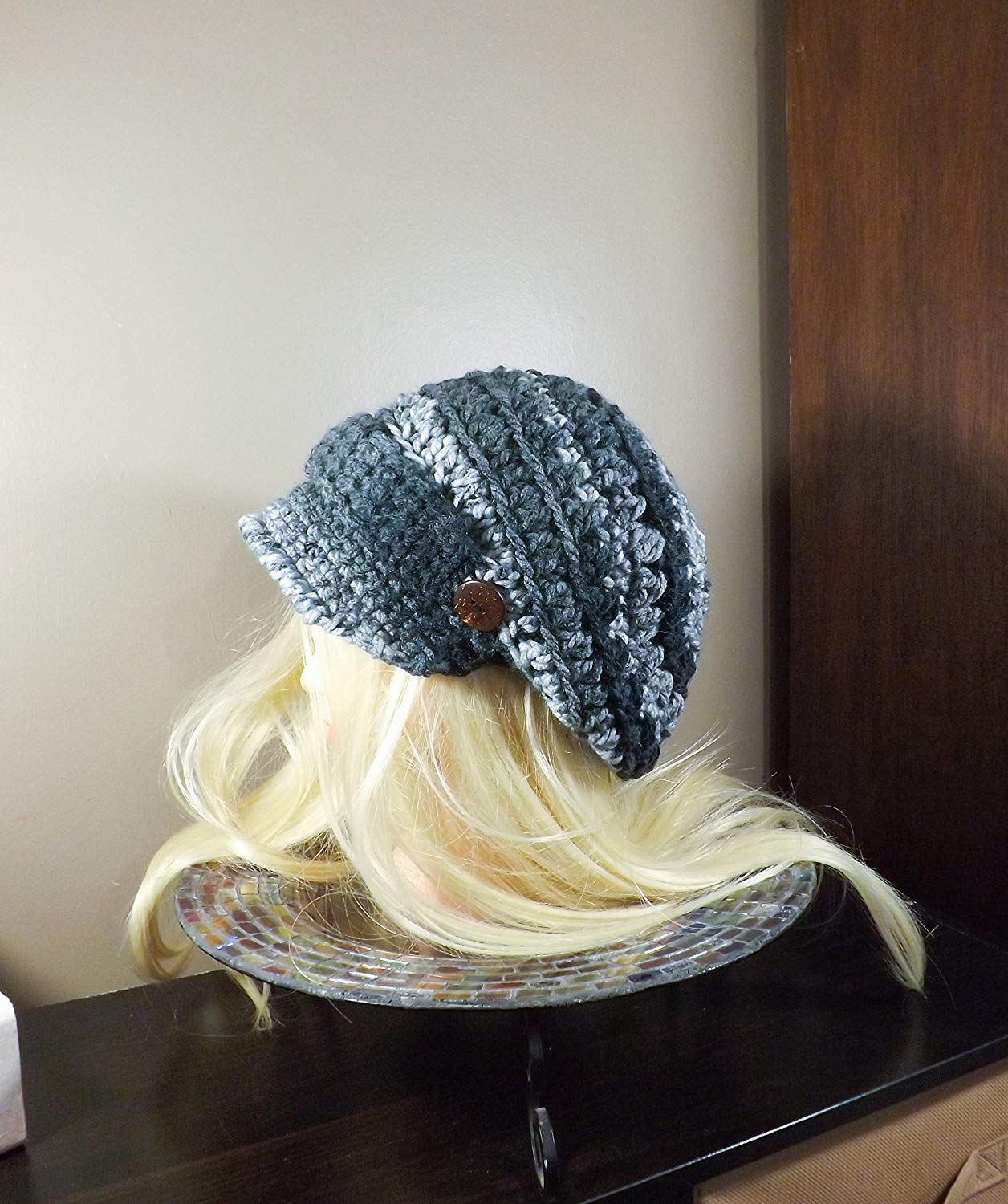 e327329e Get Quotations · Black and Grey Newsboy Hat, Crochet Slouchy Hat, News Boy  Hat with Band and