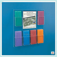 pensile acrylic brochure holder for company,wall-mounted acrylic holder,1 tier acrylic holder display