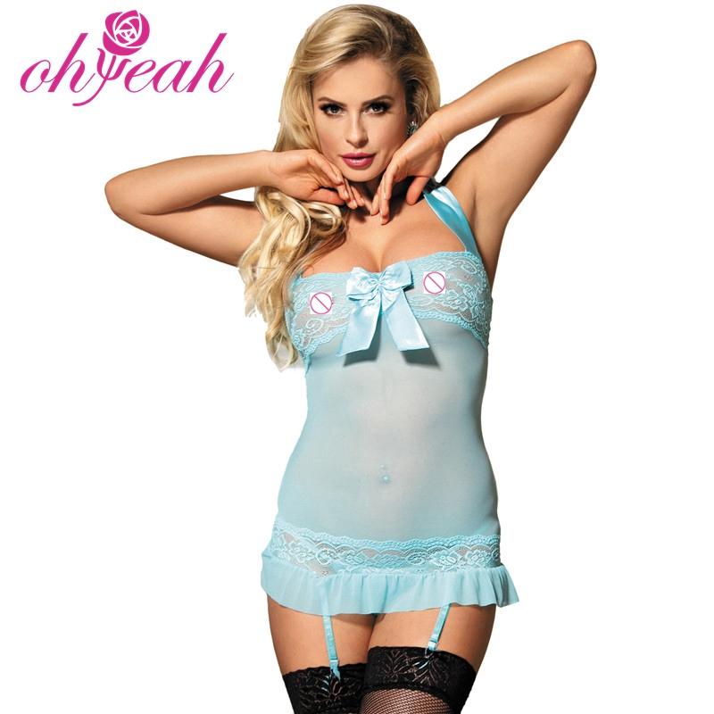 Ohyeah romantische Nachtliebe hellblau transparent sexy Lady Nachthemd