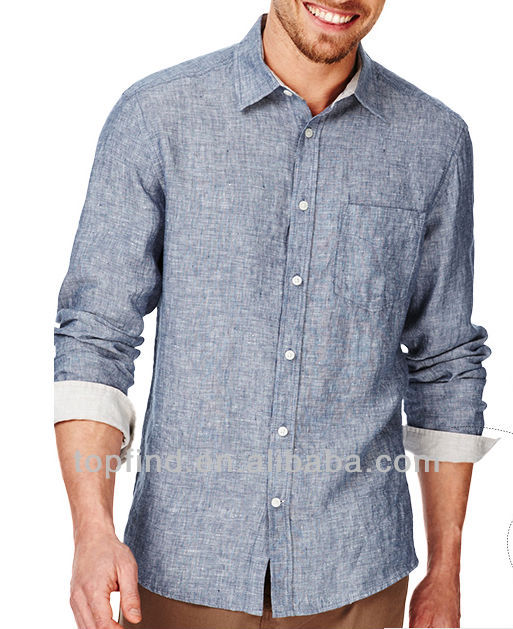 100% Leisured linen jeans style long sleeve Men shirts