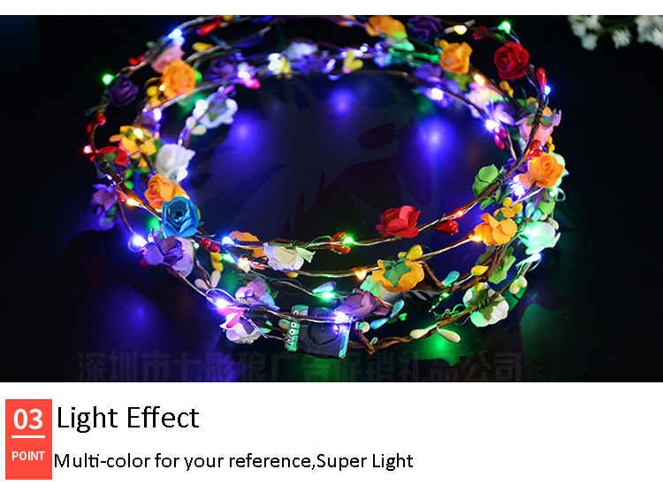 Wedding Party Decoration LED Flower Crown Headband Summer Holiday  Hawaii Party Decor LED Light Crown  Hair Wreath