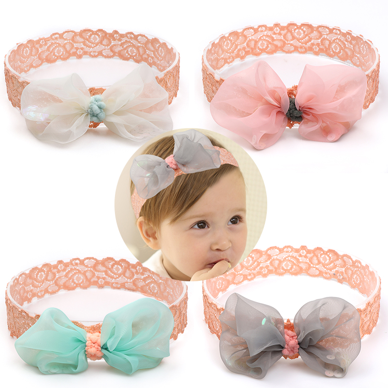 Fashion beautiful decorative <strong>hair</strong> <strong>accessories</strong> crochet elastic <strong>hair</strong> bands with bow for kids girls