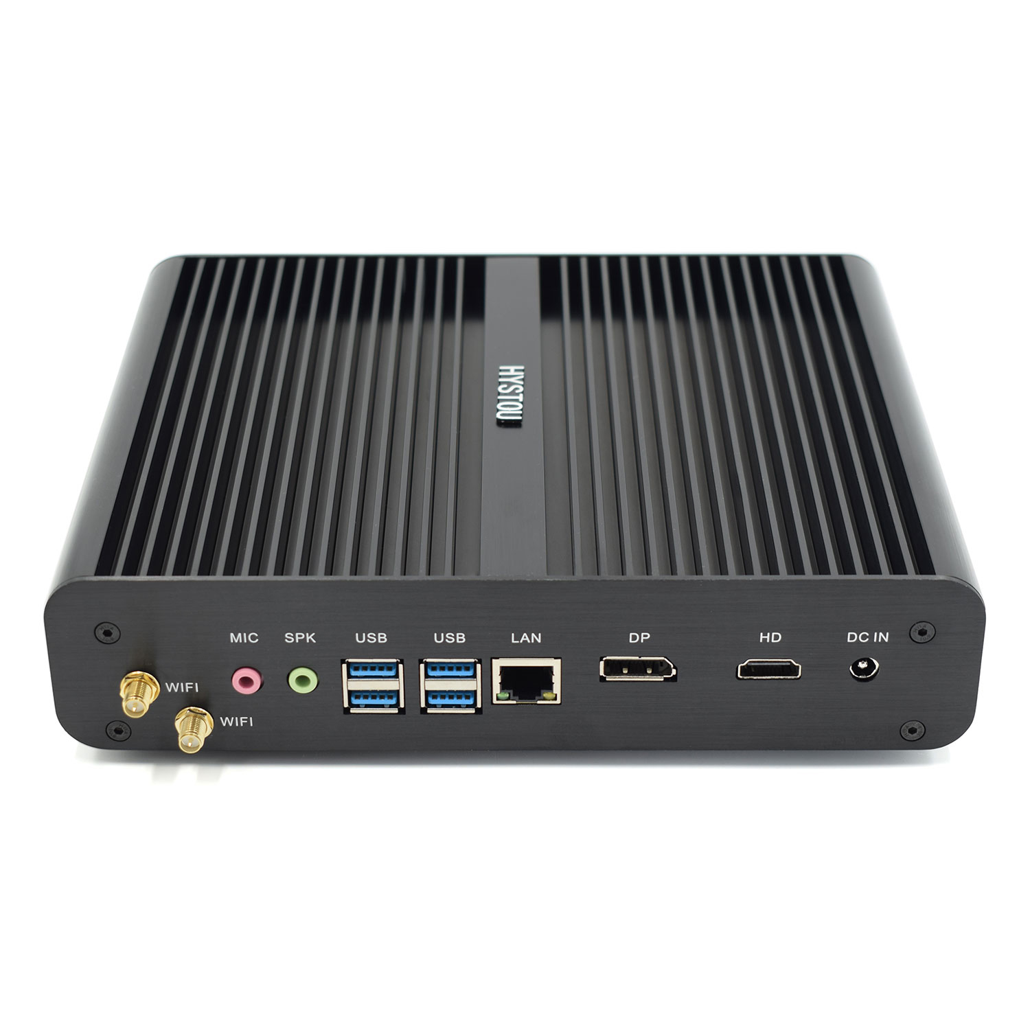 Hystou fanless Mini PC Small Form Core i7 8550U Computers with 2 SSD 1 HDD dual display and Gigabit Lan USB 4G RAM+ 64G SSD
