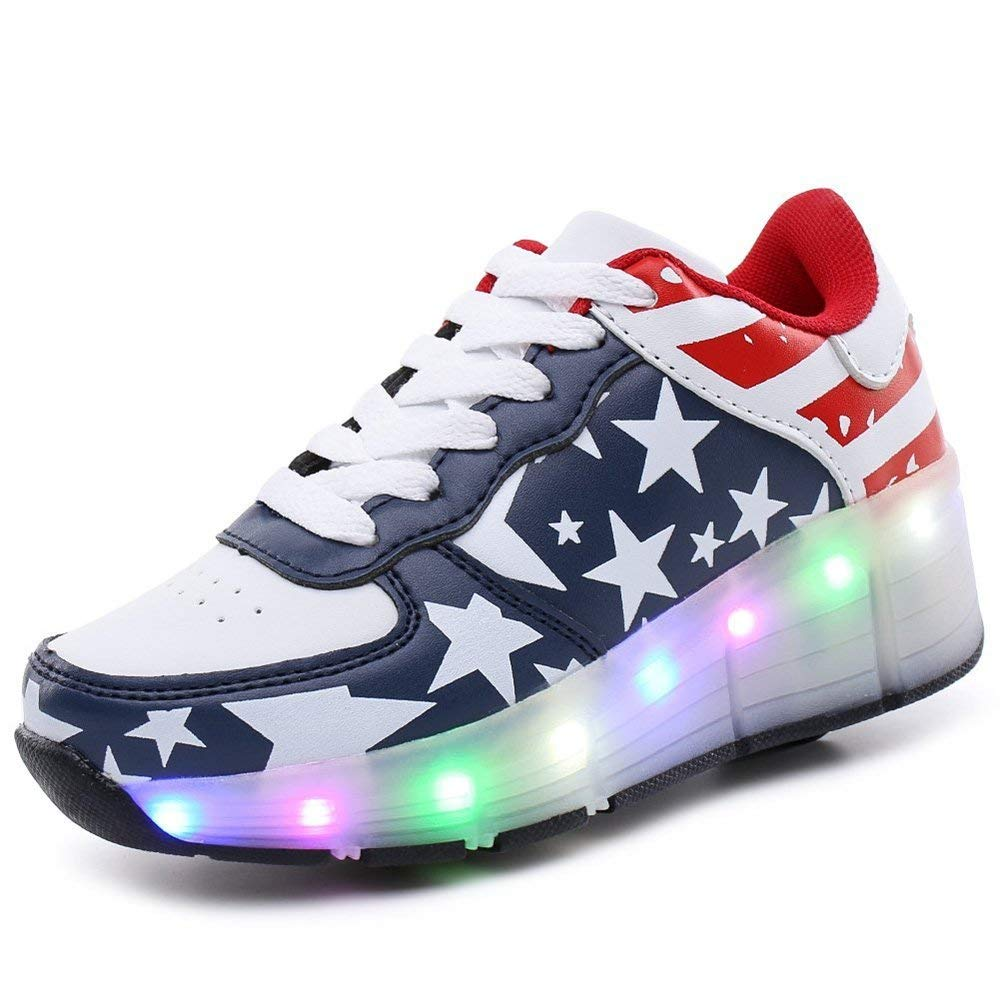 PRETTYHOMEL Kids Shoes LED Light up Shoes Roller Skate Shoes Unisex Kids Boy Girl Flashing Sneakers Kids Gift