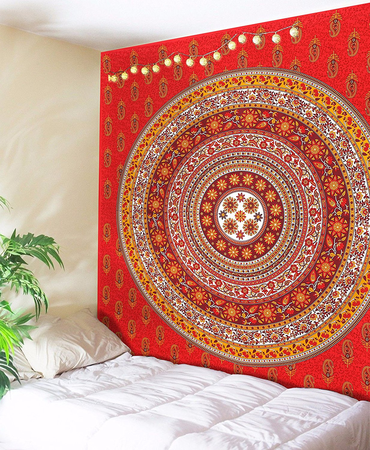 SheetKart Tapestry Wall Hanging Traditional Mandala Ethnic Tapestries Hippie Bohemian Indian Wall Decor College Dorm Beach Throw Psychedelic Red Large Wall Hangings