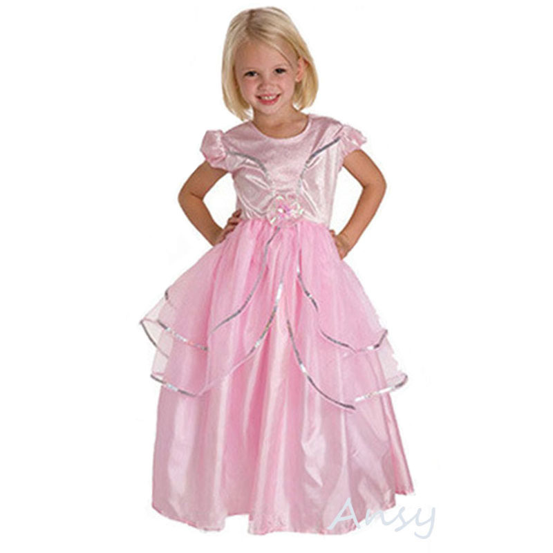 Cinderella 2015 Costumes Girls Dresses Shoes Jewelry: Pink Girl Dress Hot 2015 Summer Disny Princess Dress