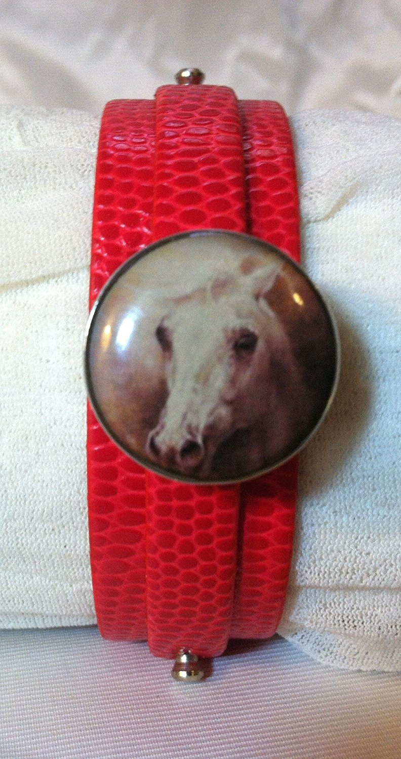 Leather SNAP BRACELET with HORSE SNAP Wild Horse 3 color choices SOME WITH BUBBLES!
