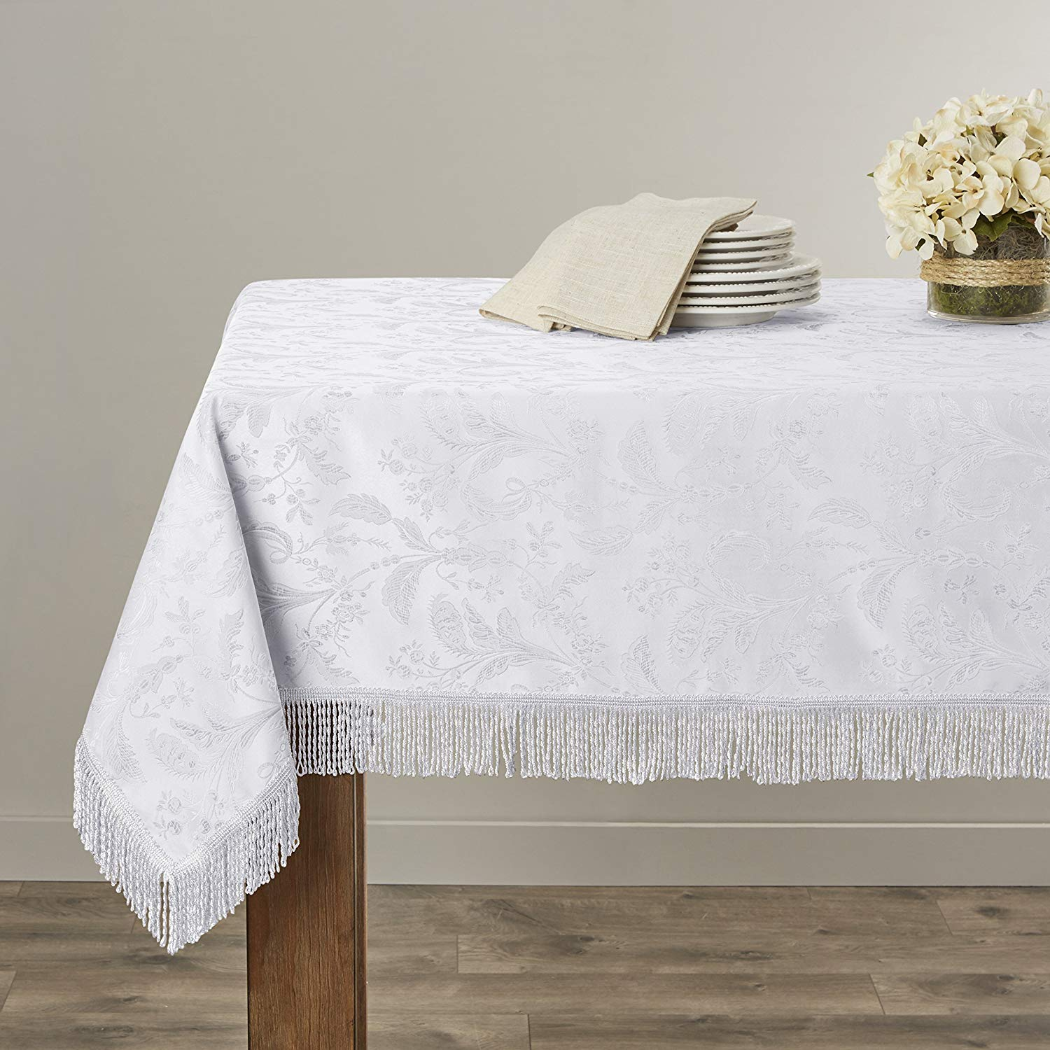 "Violet Linen Luxury Damask Design Oblong/Rectangle Tablecloth, 60"" x 160"", White"