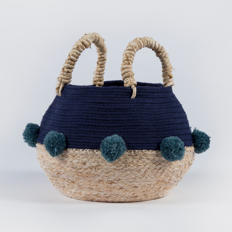 Cheap houseware folding maize belly round cotton rope big size storage sundries with pompom фото