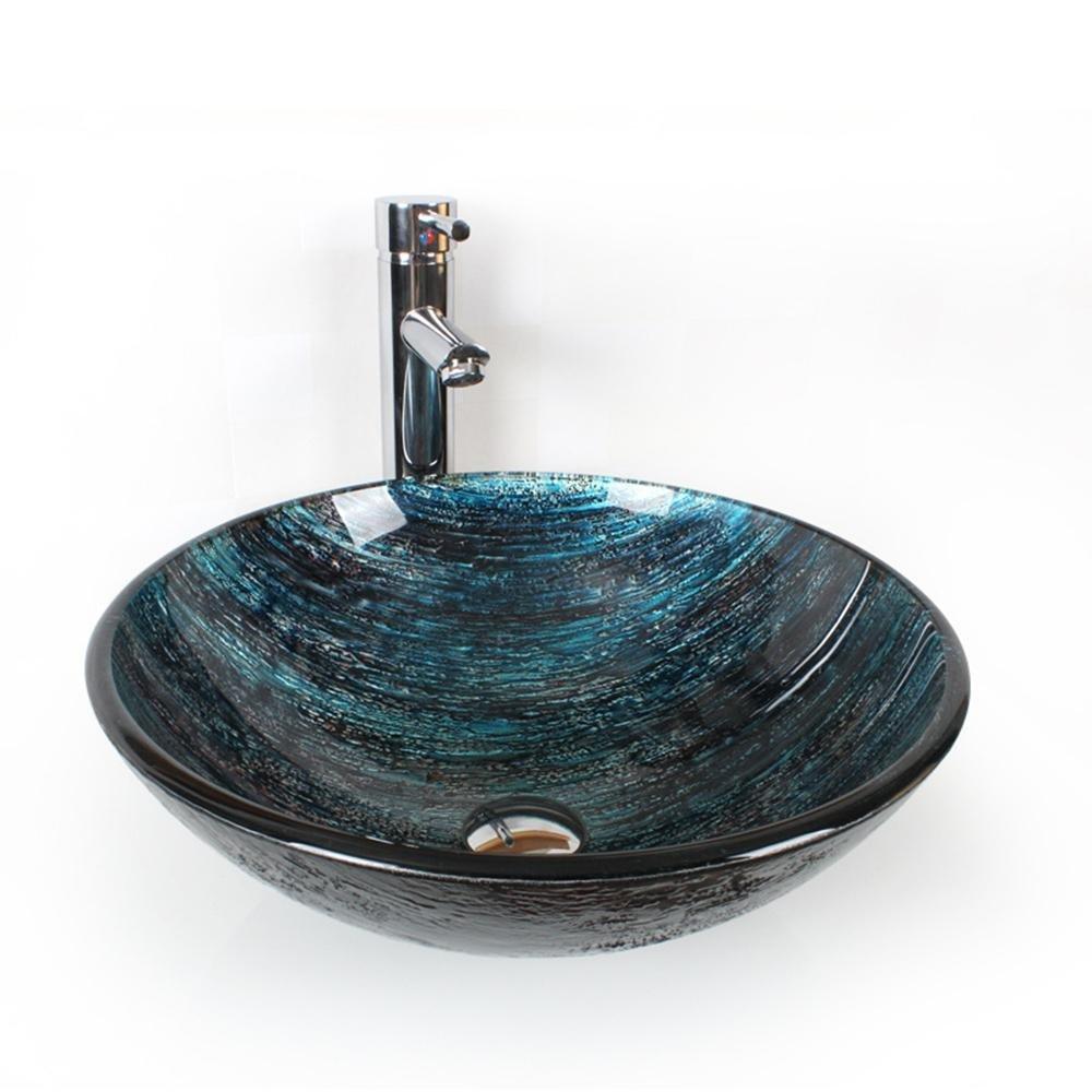 YiXinZhaiPei Dark blue Bathroom basin Tempered Glass Sink Set