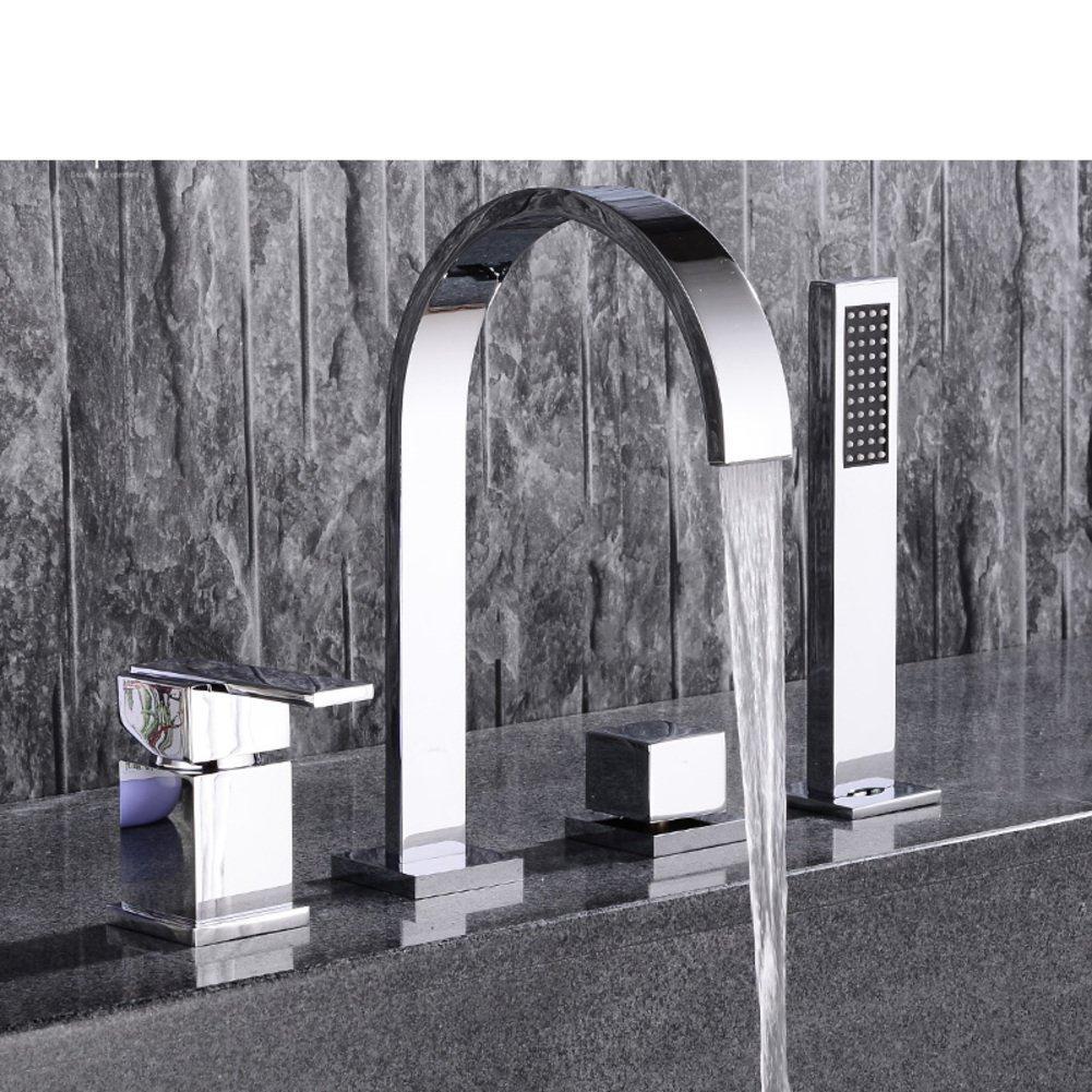 All copper hot and cold split/Sit Down/Five-piece bathtub faucet cylinder side/Bathtub faucet floor edge-A