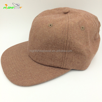 OEM high quality wool flannel real leather strap brown blank six panel  snapback cap new design 1b460137777