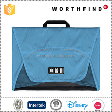 High quality blue colors functional portable cloth packing polyester travel folding bag