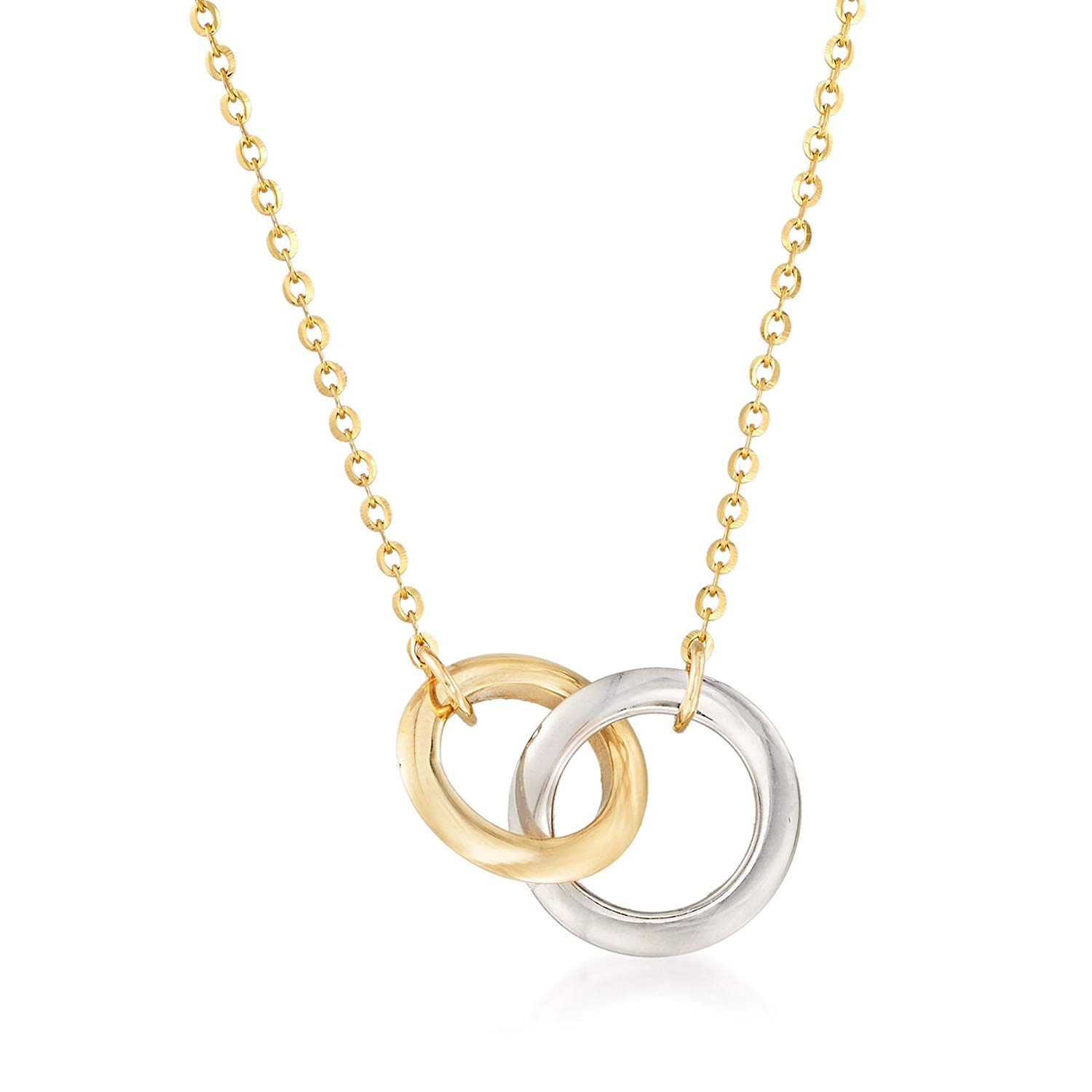 daa96549d Get Quotations · Ross-Simons 14kt Two-Tone Gold Interlocking Double Circle  Necklace