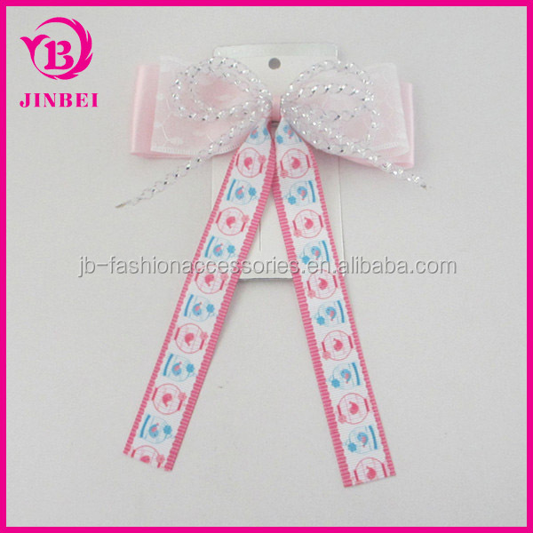 Hair Accessory Hair Clip Bow:YiWu Yilibei Simple White Metal Hair Clip With Pink Fabric Bow And Multicolor Ribbon For Kids