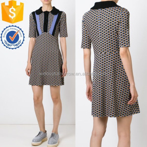 Wholesale women short sleeve multicoloured knit collar polo shirt dress for girls and ladies