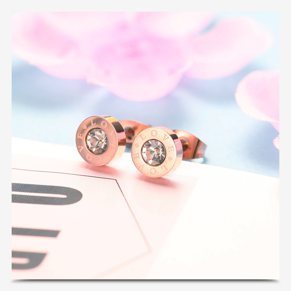 316 Stainless Steel Round Shine AAA CZ 8MM Diameter Roman Numeral Stud Earrings For Women High Quality Brand Jewelry