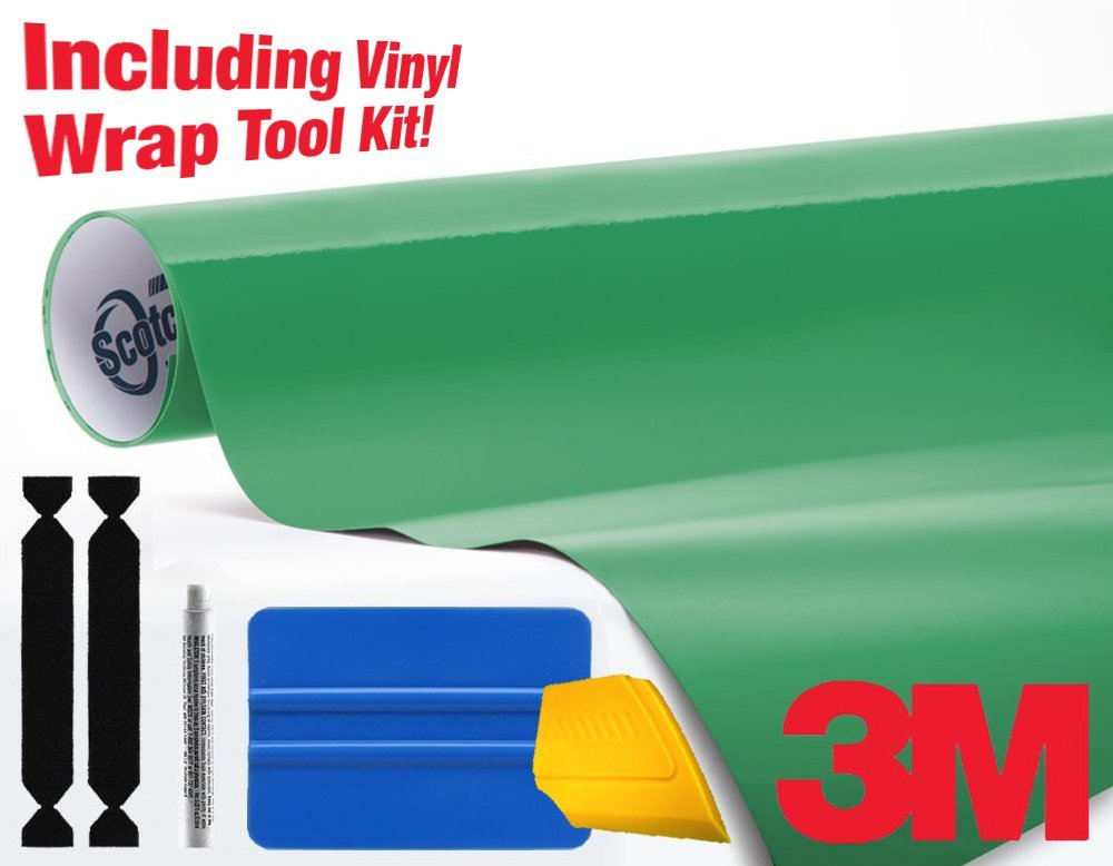 3M 1080 Gloss Kelly Green Air-Release Vinyl Wrap Roll Including Toolkit (20ft x 5ft)