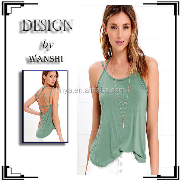 Sexy Backless Women Clothing 100%Rayon Strap-pening Sage Green Tank Top For Women