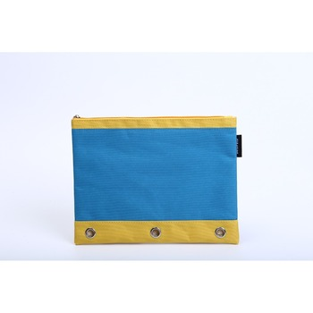 Fashionable color pencil pouch with 3 ring binder 1 pocket canvas pencil case