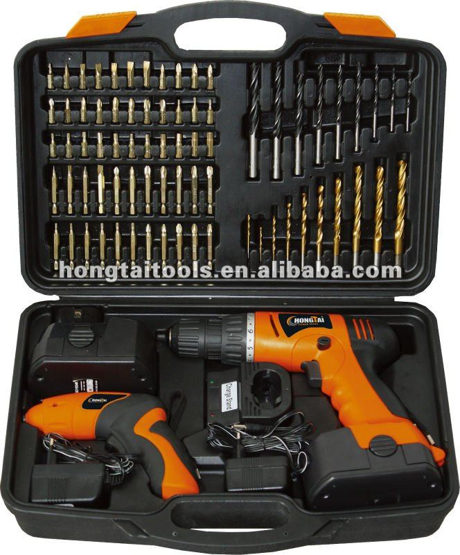 18Volt drill and 4.8Volt screwdriver kit with 74pcs accessories
