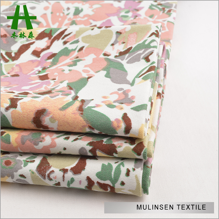 Mulinsen Textile All Over Flower Print Woven 32s Combed Cotton Sateen Shirt Fabric